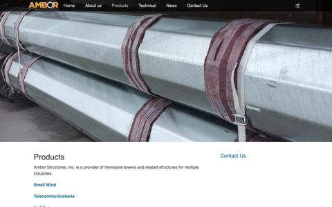 Screenshot of Products Page amborstructures.com - Products – Ambor Structures - captured Oct. 3, 2018