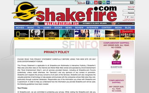 Screenshot of Privacy Page shakefire.com - Privacy Policy : Shakefire.com - captured Oct. 30, 2014