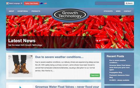 Screenshot of Press Page growthtechnology.com - News - Growth Technology - captured July 25, 2018
