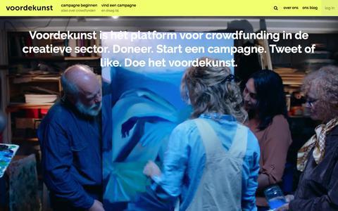 Screenshot of Home Page voordekunst.nl - voordekunst - Crowdfunding voor de creatieve sector - captured Sept. 20, 2018