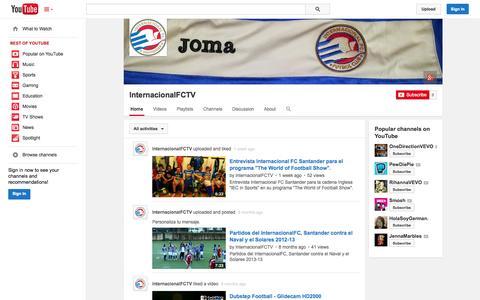 Screenshot of YouTube Page youtube.com - InternacionalFCTV  - YouTube - captured Oct. 23, 2014