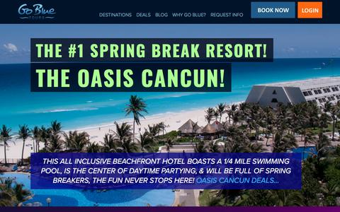 Screenshot of Home Page gobluetours.com - All Inclusive Mexico Vacation Packages & Tours! - Go Blue Tours - captured July 21, 2018