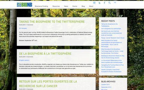 Screenshot of Blog bionb.org - Blog - BioNB - captured Oct. 5, 2014