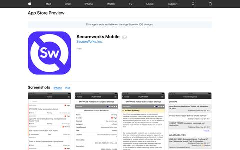 Secureworks Mobile on the AppStore