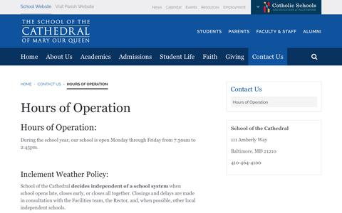 Screenshot of Hours Page schoolofthecathedral.org - Hours of Operation - captured Oct. 25, 2018