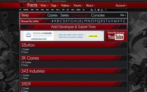 Screenshot of Developers Page vgfacts.com - Browse Developers - VGFacts - captured Nov. 4, 2014