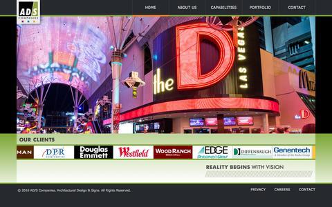 Screenshot of Home Page ad-s.com - AD/S Companies - captured Feb. 4, 2016