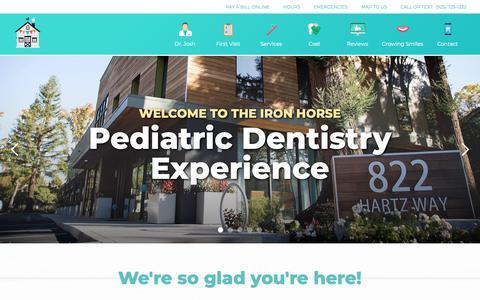 Screenshot of Home Page ironhorsekids.com - Iron Horse Pediatric Dentistry   Danville, California Dentist - captured Nov. 25, 2018