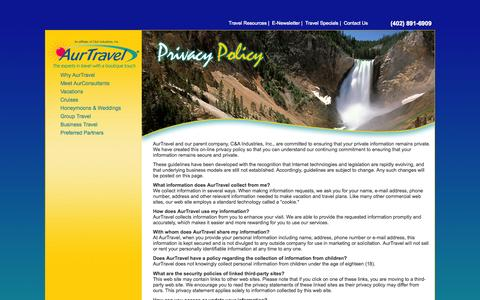 Screenshot of Privacy Page aurtravel.com - Travel agency Privacy Policy for: AurTravel - captured Sept. 30, 2014