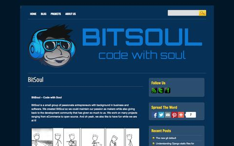 Screenshot of Home Page bitsoul.com - BitSoul | Code with Soul - captured Oct. 5, 2014