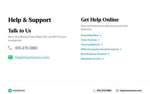 Screenshot of Support Page workzone.com - Help & Support | Workzone - captured Sept. 10, 2019