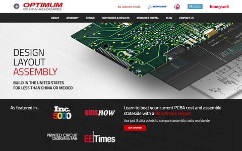 Screenshot of Home Page optimumdesign.com - Optimum Design Associates - captured Jan. 20, 2016