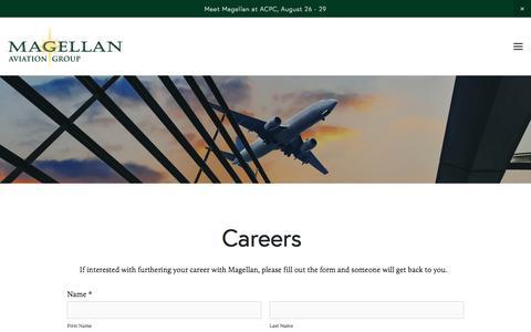 Screenshot of Jobs Page magellangroup.net - Careers — Magellan Aviation Group - captured Sept. 26, 2017