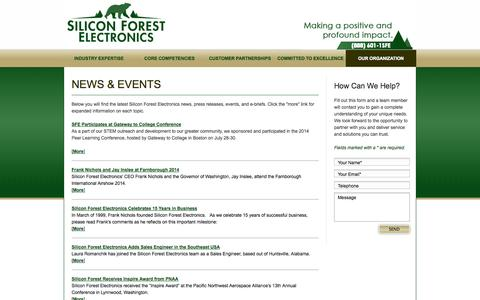Screenshot of Press Page siliconforestelectronics.com - Silicon Forest Electronics - News & Events - captured Oct. 26, 2014