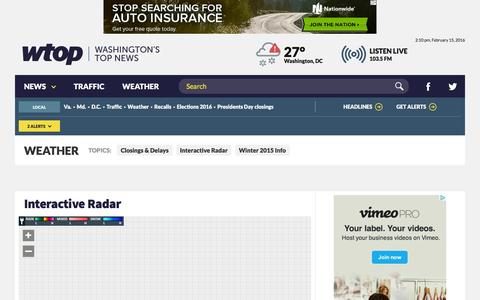 Screenshot of Maps & Directions Page wtop.com - Weather - WTOP - captured Feb. 15, 2016