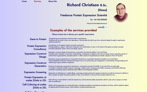 Screenshot of Services Page proteinexp.se - Protein Expression : Services - captured Oct. 6, 2014