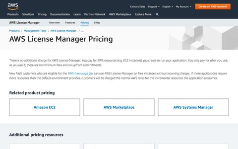 Screenshot of Pricing Page amazon.com - AWS License Manager Pricing - captured May 8, 2019
