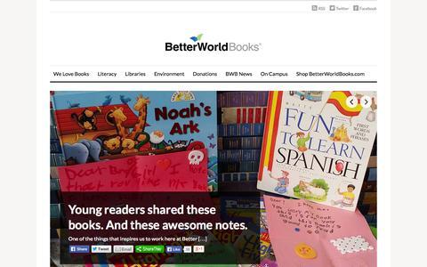 Screenshot of Blog betterworldbooks.com - Better World Books Blog - Book Reviews, Literacy Programs, Community Outreach - captured Sept. 13, 2014