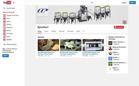Screenshot of YouTube Page youtube.com - Spiroflow1  - YouTube - captured Nov. 4, 2014