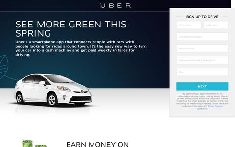 Screenshot of Landing Page uber.com - Sign Up To Drive With Uber - Earn Cash With Your Car - captured Oct. 28, 2016