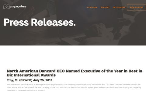 Screenshot of Press Page payanywhere.com - North American Bancard CEO Named Executive of the Year in Best in Biz International Awards | PayAnywhere - captured Sept. 28, 2018