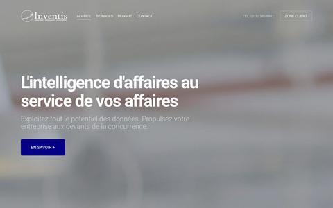 Screenshot of Home Page inventis.ca - Inventis | l'intelligence d'affaires au service de vos affaires - captured Jan. 9, 2016