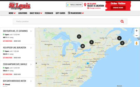 Screenshot of Locations Page stlouiswings.com - St. Louis Wings Bar & Grill's Restaurant Locator - captured Oct. 18, 2018