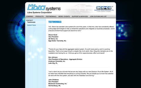 Screenshot of Testimonials Page librasystems.com - Libra Systems - Testimonials - captured Nov. 7, 2016