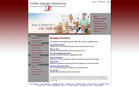 Screenshot of Menu Page townsquarefinancial.com - Town Square Mortgage & Investments, Inc. NMLS 144975 : Mortgage Calculators - captured Dec. 16, 2016