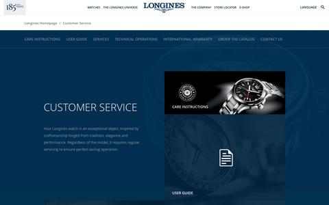 Screenshot of Support Page longines.com - Longines Customer Services - captured Sept. 8, 2017
