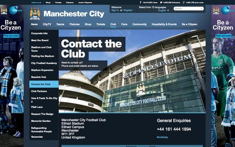 Screenshot of Contact Page mcfc.co.uk - Business directory - The Club - Manchester City FC - captured Oct. 29, 2014