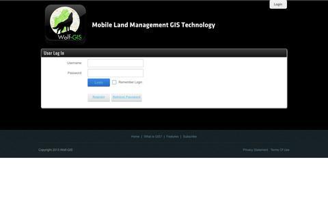 Screenshot of Login Page wolfgis.com - User Log In - captured Sept. 17, 2014
