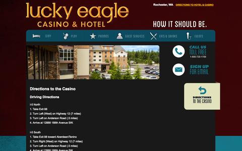 Screenshot of Maps & Directions Page luckyeagle.com - Directions | Lucky Eagle Casino - captured Oct. 3, 2014