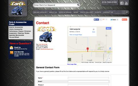 Screenshot of Contact Page Maps & Directions Page carls4wd.com - Carl's 4WD - captured Oct. 22, 2014