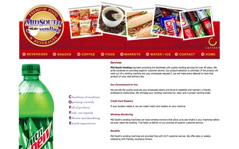 Screenshot of Services Page msvending.com - Services - captured Oct. 27, 2014