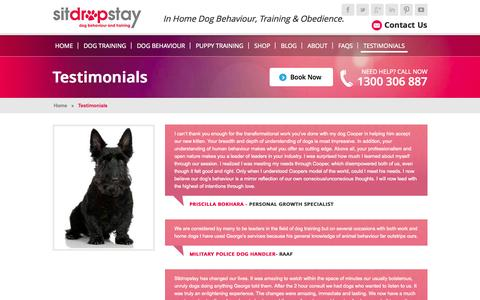 Screenshot of Testimonials Page sitdropstay.com - Dog Behaviour & Dog Training Testimonials | SitDropStay - captured Oct. 29, 2014