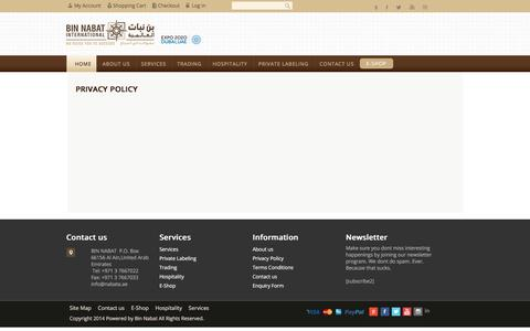 Screenshot of Privacy Page nabata.ae - Privacy Policy | Coffee Shop Business Consulting Agency-Bin Nabata - captured Nov. 21, 2016