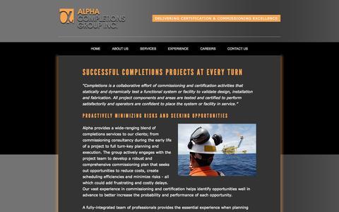 Screenshot of Services Page alpha-cg.com - Completions and startup services by Alpha Completions Group - captured Oct. 4, 2014