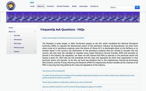 Screenshot of FAQ Page npa.gov.gh - NPA - FAQs - captured Nov. 29, 2016