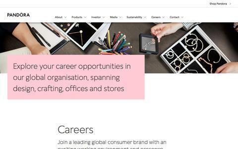 Screenshot of Jobs Page pandoragroup.com - Careers - captured Sept. 1, 2019