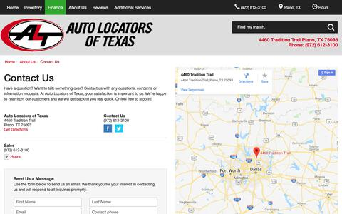 Screenshot of Contact Page Hours Page alttx.com - Contact Auto Locators of Texas in Plano Texas - captured Oct. 31, 2018