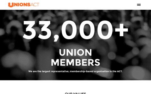 Screenshot of About Page unionsact.org.au - About Us | UnionsACT - captured May 20, 2016