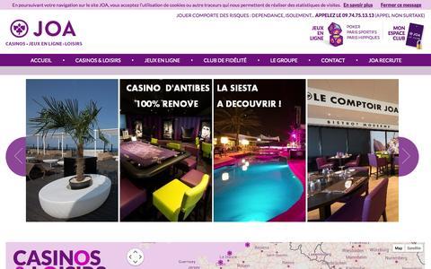 Screenshot of Contact Page joa-casino.com - Casinos, roulette, poker, discothèque et jeux en ligne | Joa - captured Oct. 4, 2014
