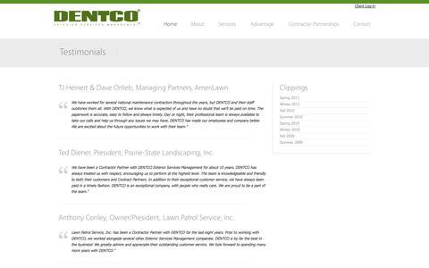 Screenshot of Testimonials Page dentco.com - DENTCO, Exterior Services Management for National Facility Retailers - captured Oct. 5, 2014