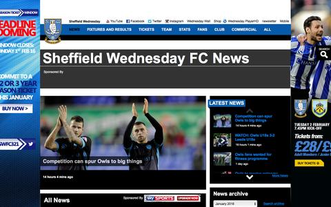 Screenshot of Press Page swfc.co.uk - Sheffield Wednesday FC News - captured Jan. 27, 2016