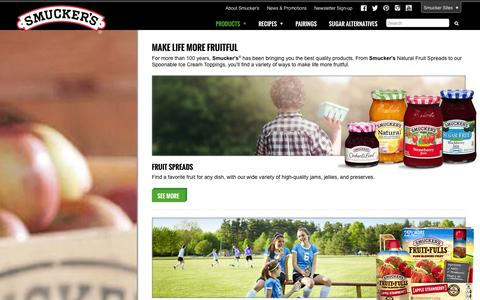 Screenshot of Products Page smuckers.com - Products - Smucker's - captured Sept. 19, 2014