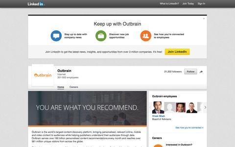 Screenshot of LinkedIn Page linkedin.com - Outbrain | LinkedIn - captured Nov. 17, 2015