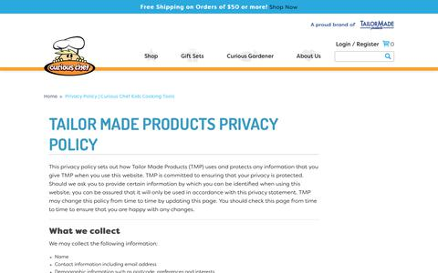 Screenshot of Privacy Page curiouschef.com - Privacy Policy | Curious Chef Kids Cooking Tools - captured Nov. 5, 2018