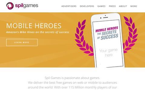 Screenshot of Home Page spilgames.com - Home - Spil Games - captured July 3, 2016