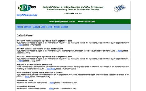 Screenshot of Press Page npiplus.com.au - News about NPI reporting - captured Sept. 21, 2018